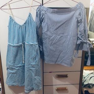 STRIPED DRESS AND SHIRT